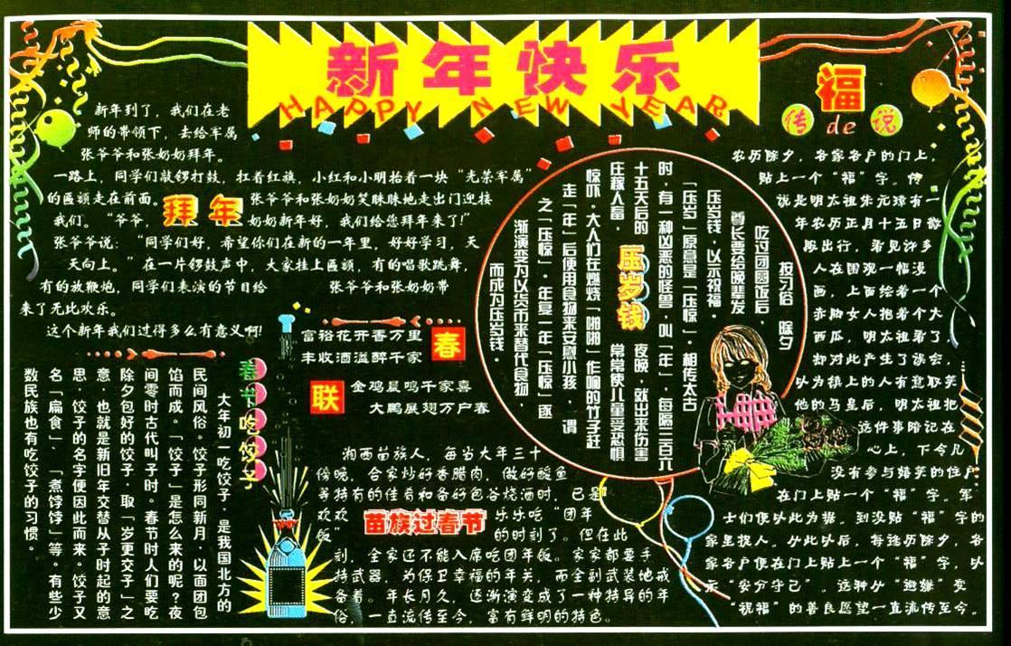苗族过春节黑板报设计